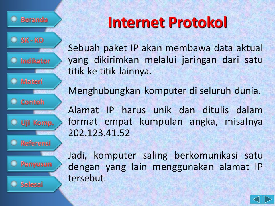 3.Tuliskan 4 buah fasilitas yang ada di Internet •Browsing •Chatting •Email •Video Conference •File Transfer Jawab: