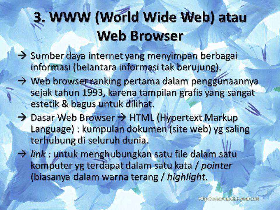 3. WWW (World Wide Web) atau Web Browser  Sumber daya internet yang menyimpan berbagai informasi (belantara informasi tak berujung).  Web browser ra