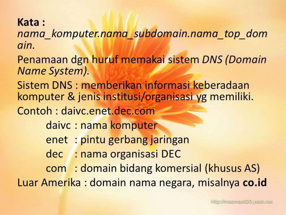 Tabel Kategori Nama Top Domain Nama DomainMilik / Jenis Organisasi ComSitus Komersial EduSitus Pendidikan GovSitus Pemerintah MilSitus militer NetInternet gateaway dan jaringan besar OrgSemua jenis organisasi ArpaKhusus Arpanet IntOrganisasi Internasional