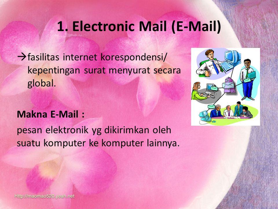 1. Electronic Mail (E-Mail) ffasilitas internet korespondensi/ kepentingan surat menyurat secara global. Makna E-Mail : pesan elektronik yg dikirimk