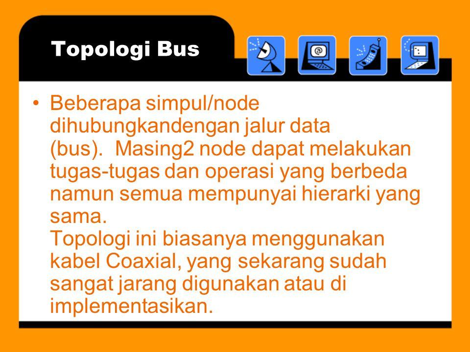 Topologi Bus •Beberapa simpul/node dihubungkandengan jalur data (bus). Masing2 node dapat melakukan tugas-tugas dan operasi yang berbeda namun semua m