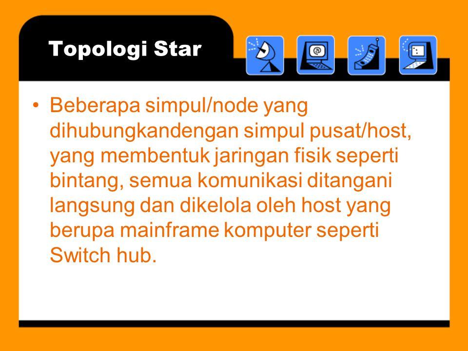 Topologi Star •Beberapa simpul/node yang dihubungkandengan simpul pusat/host, yang membentuk jaringan fisik seperti bintang, semua komunikasi ditangan