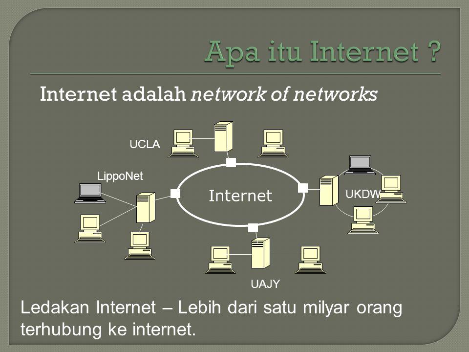 Internet adalah network of networks Internet UKDW UCLA UAJY LippoNet Ledakan Internet – Lebih dari satu milyar orang terhubung ke internet.
