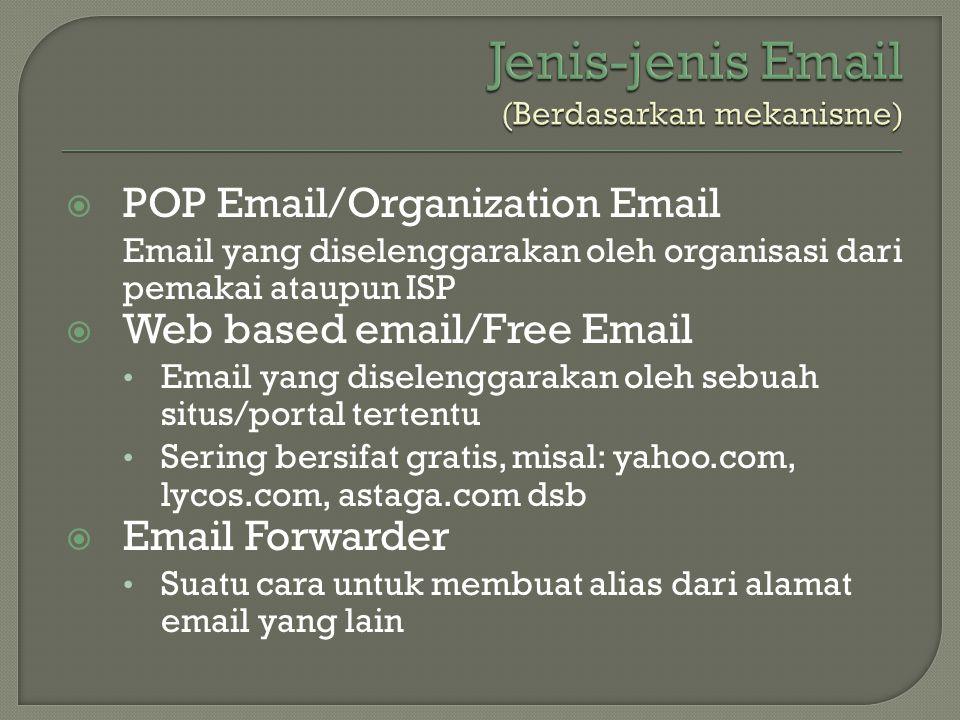  POP Email/Organization Email Email yang diselenggarakan oleh organisasi dari pemakai ataupun ISP  Web based email/Free Email • Email yang diselengg