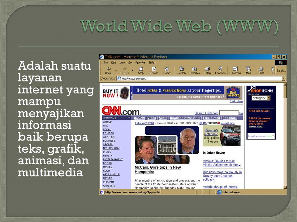 Adalah suatu layanan internet yang mampu menyajikan informasi baik berupa teks, grafik, animasi, dan multimedia