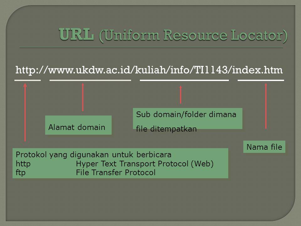 http://www.ukdw.ac.id/kuliah/info/TI1143/index.htm Protokol yang digunakan untuk berbicara httpHyper Text Transport Protocol (Web) ftpFile Transfer Pr