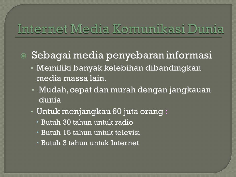  Sebagai media penyebaran informasi • Memiliki banyak kelebihan dibandingkan media massa lain. • Mudah, cepat dan murah dengan jangkauan dunia • Untu