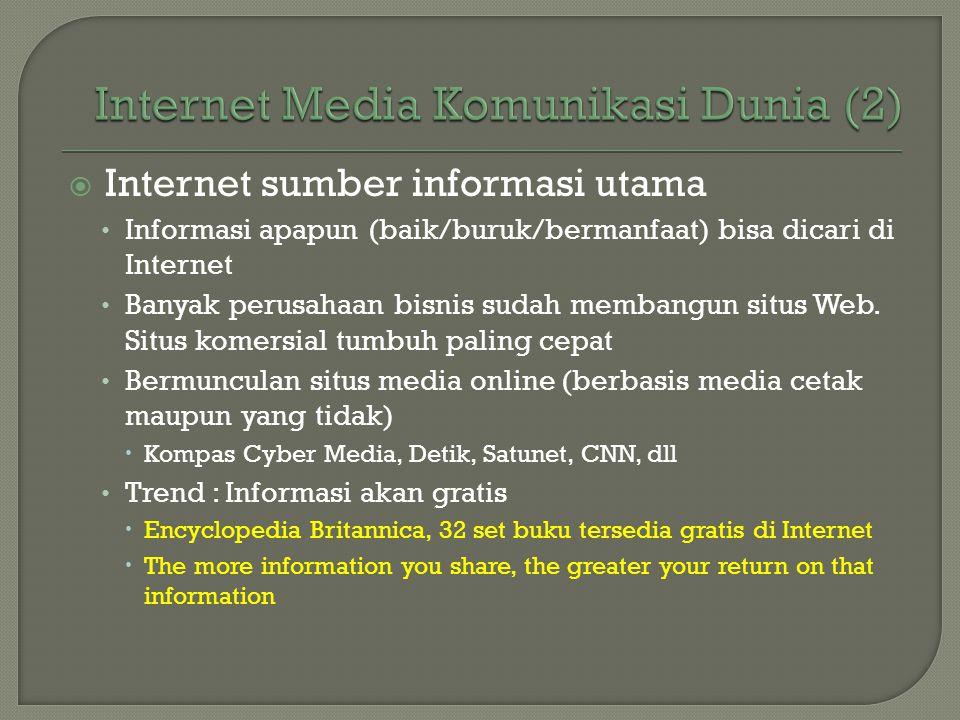  Internet sumber informasi utama • Informasi apapun (baik/buruk/bermanfaat) bisa dicari di Internet • Banyak perusahaan bisnis sudah membangun situs