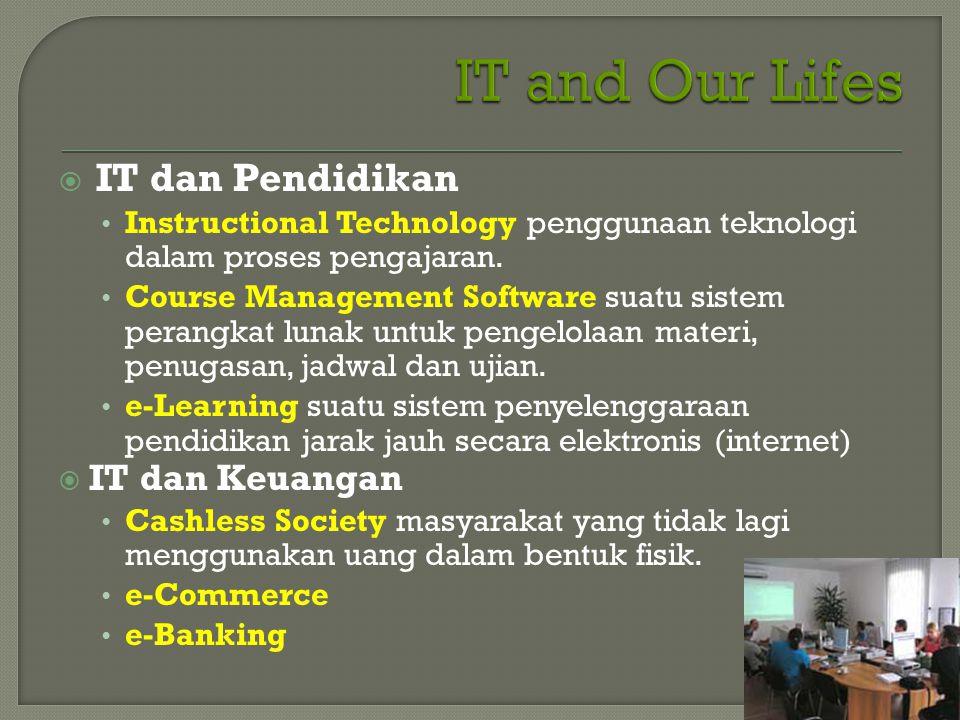  IT dan Pendidikan • Instructional Technology penggunaan teknologi dalam proses pengajaran. • Course Management Software suatu sistem perangkat lunak