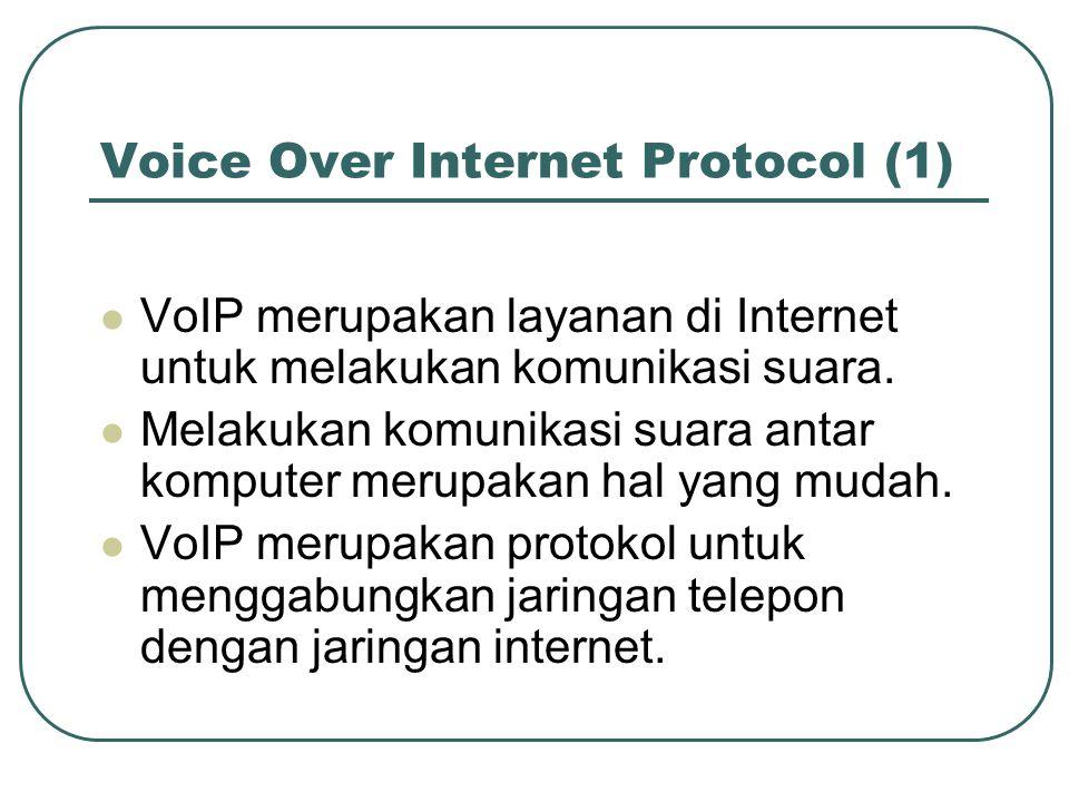 Voice Over Internet Protocol (1)  VoIP merupakan layanan di Internet untuk melakukan komunikasi suara.  Melakukan komunikasi suara antar komputer me
