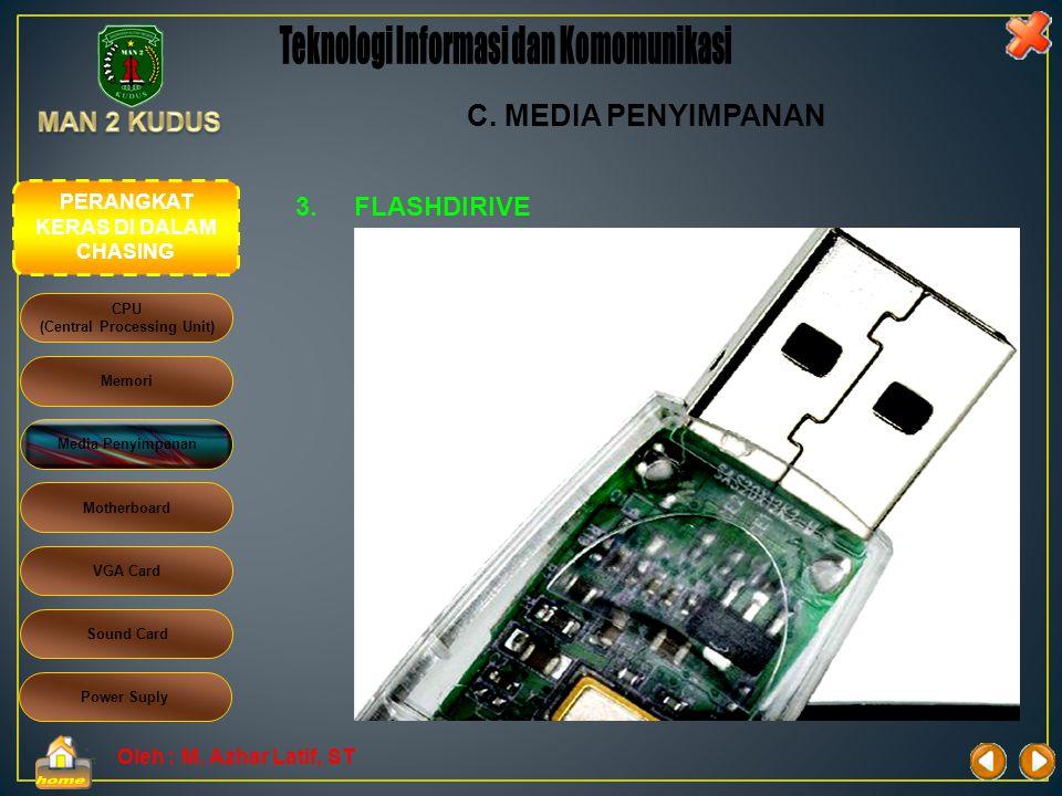 Oleh : M. Azhar Latif, ST 3.FLASHDIRIVE  Disket juga disebut floppydisk  Kapasitas penyimpanan data hanya mencapai 1.4 MB  Kecepatan akses data ren