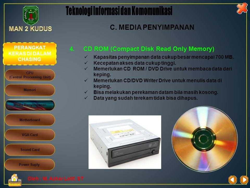 Oleh : M. Azhar Latif, ST 3.FLASHDIRIVE CPU (Central Processing Unit) Memori Media Penyimpanan Motherboard Sound Card VGA Card Power Suply C. MEDIA PE