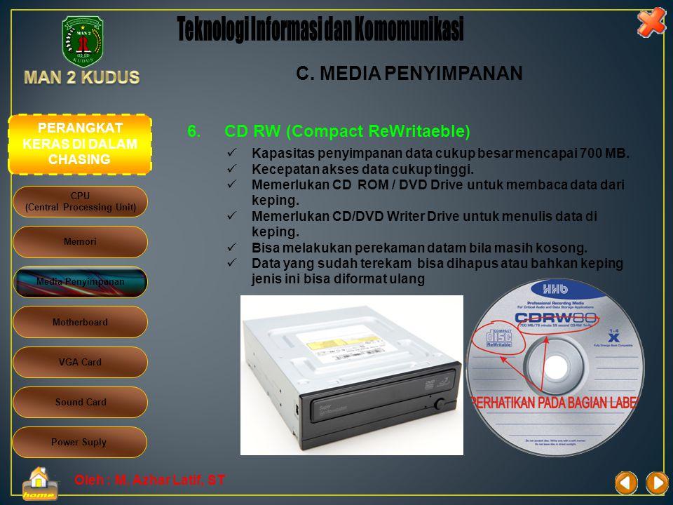Oleh : M. Azhar Latif, ST 5.CD R (Compact Disk Recordable)  Kapasitas penyimpanan data cukup besar mencapai 700 MB.  Kecepatan akses data cukup ting