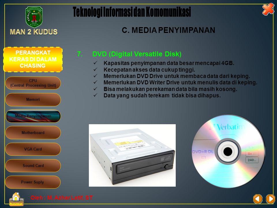 Oleh : M. Azhar Latif, ST 6.CD RW (Compact ReWritaeble)  Kapasitas penyimpanan data cukup besar mencapai 700 MB.  Kecepatan akses data cukup tinggi.
