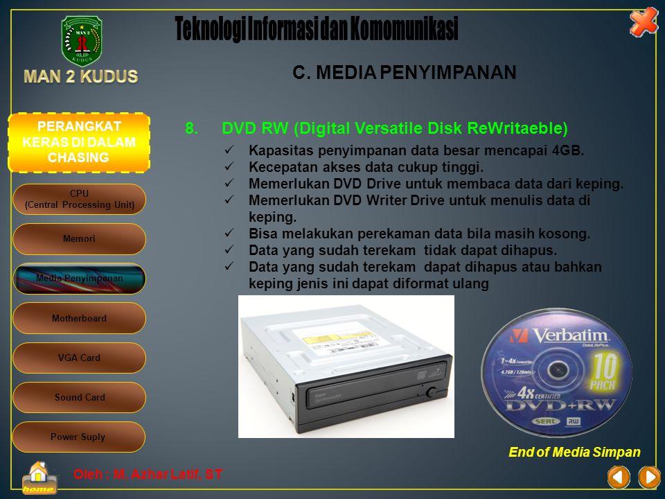 Oleh : M. Azhar Latif, ST 7.DVD (Digital Versatile Disk)  Kapasitas penyimpanan data besar mencapai 4GB.  Kecepatan akses data cukup tinggi.  Memer