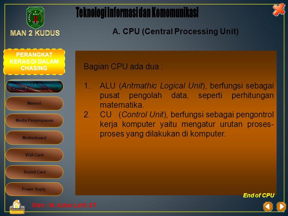 Oleh : M. Azhar Latif, ST A. CPU (Central Processing Unit) CPU sebagai otak komputer. CPU juga sering disebut dengan microproscessor atau processor, m