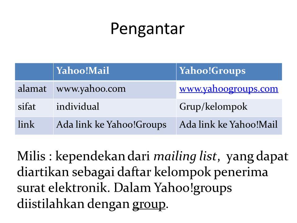Pengantar Yahoo!MailYahoo!Groups alamatwww.yahoo.comwww.yahoogroups.com sifatindividualGrup/kelompok linkAda link ke Yahoo!GroupsAda link ke Yahoo!Mai
