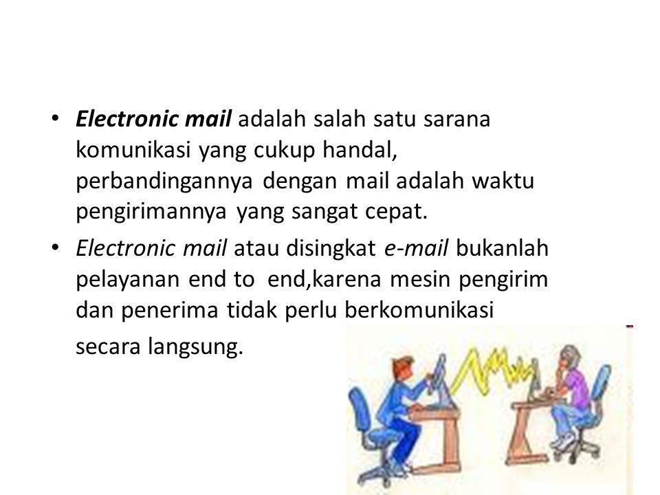 • Electronic mail adalah salah satu sarana komunikasi yang cukup handal, perbandingannya dengan mail adalah waktu pengirimannya yang sangat cepat. • E