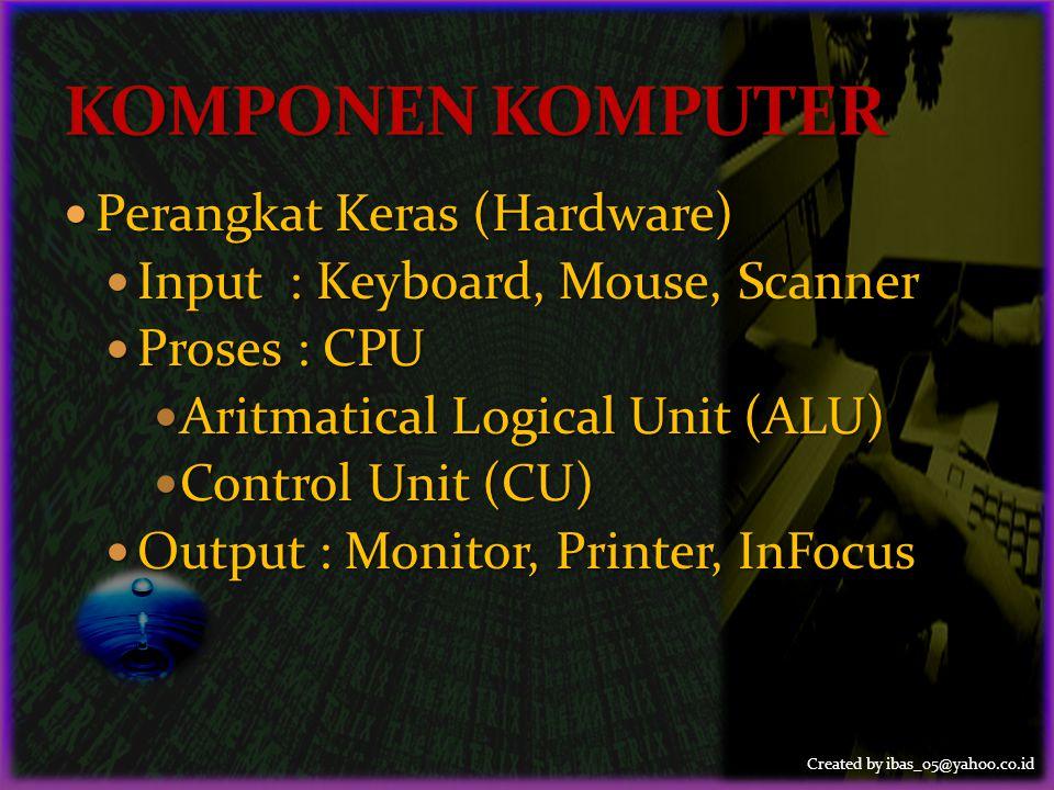 Created by ibas_05@yahoo.co.id  Perangkat Lunak (Software)  Sistem Operasi (SO) : Windows, Linux  Program Aplikasi (PA) : Word, Excel, Access, Powerpoint, Writer, Impress, Calc, Math  Program Tambahan : Winzip, Winrar, Nero, Antivirus