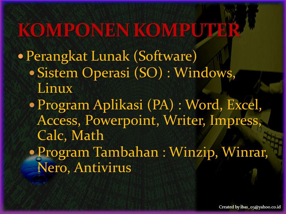 Created by ibas_05@yahoo.co.id Perangkat Lunak (Software)
