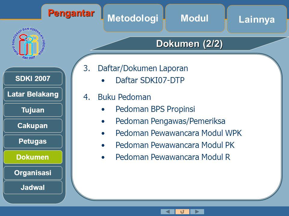 Latar Belakang Tujuan Cakupan Petugas Dokumen Organisasi SDKI 2007 Dokumen (2/2) 3.Daftar/Dokumen Laporan •Daftar SDKI07-DTP 4.Buku Pedoman •Pedoman BPS Propinsi •Pedoman Pengawas/Pemeriksa •Pedoman Pewawancara Modul WPK •Pedoman Pewawancara Modul PK •Pedoman Pewawancara Modul R Jadwal Lainnya Modul Metodologi Pengantar
