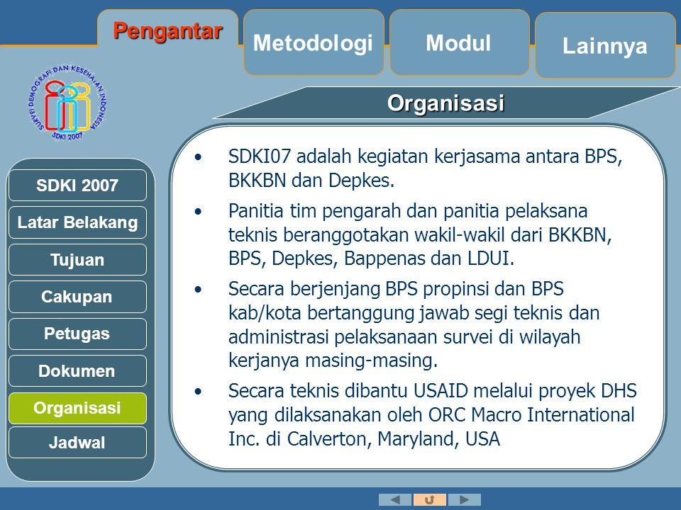 Latar Belakang Tujuan Cakupan Petugas Dokumen Organisasi SDKI 2007Organisasi Jadwal •SDKI07 adalah kegiatan kerjasama antara BPS, BKKBN dan Depkes.