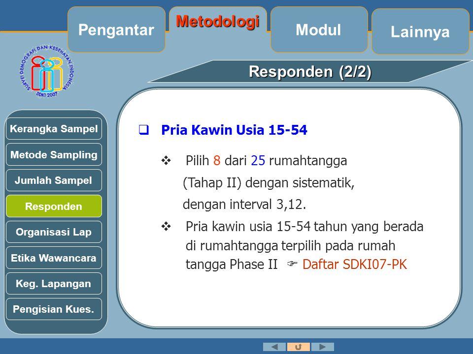 Responden (2/2)  Pria Kawin Usia 15-54  Pilih 8 dari 25 rumahtangga (Tahap II) dengan sistematik, dengan interval 3,12.