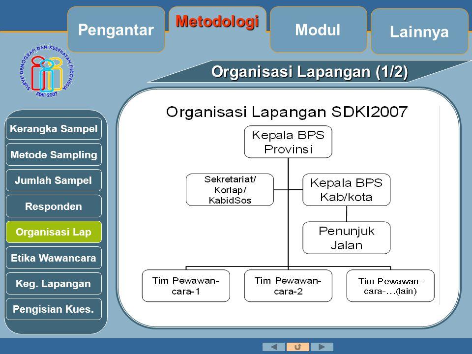 Organisasi Lapangan (1/2) Metode Sampling Jumlah Sampel Kerangka Sampel Responden Organisasi Lap Etika Wawancara Keg.