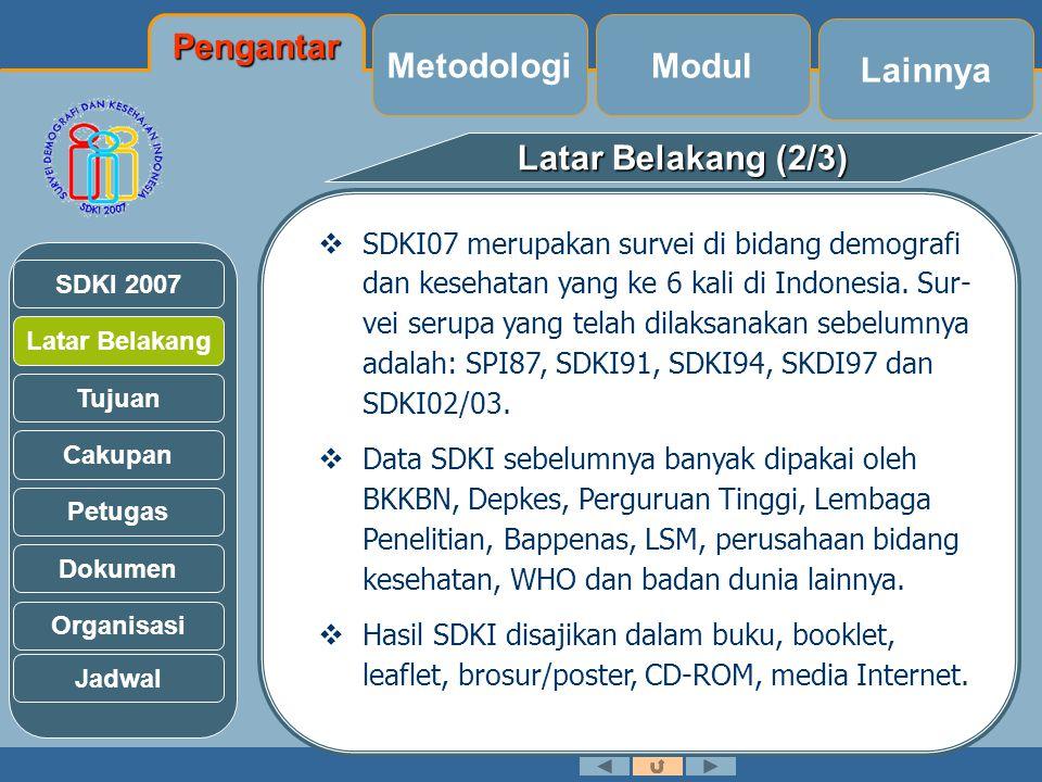 Latar Belakang (3/3) Latar Belakang Tujuan Cakupan Petugas Dokumen Organisasi SDKI 2007 Jadwal  Program KB nasional telah dilaksanakan di Indonesia selama lebih dari 35 tahun.