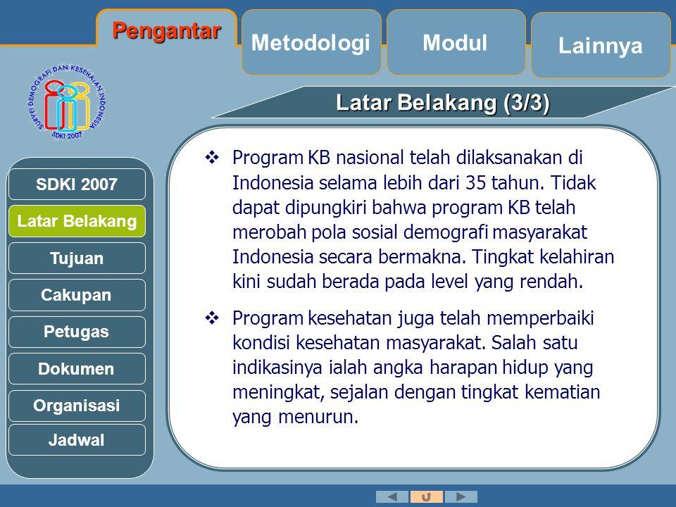 Latar Belakang Tujuan Cakupan Petugas Dokumen Organisasi SDKI 2007 Tujuan (1/3) Jadwal Secara umum SDKI bertujuan:  Menyediakan data base untuk pengelola program, pengambil kebijakan, dan peneliti, mengenai fertilitas, KB dan kesehatan, pada tingkat provinsi & nasional yang terbandingkan secara internasional.