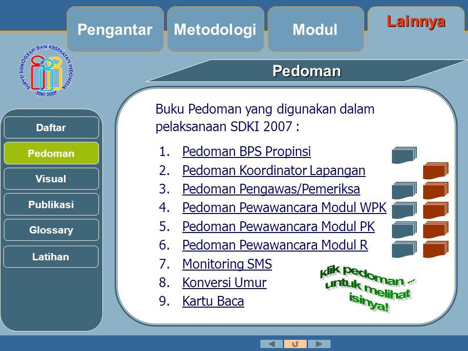 Pedoman Buku Pedoman yang digunakan dalam pelaksanaan SDKI 2007 : 1.Pedoman BPS Propinsi 2.Pedoman Koordinator Lapangan 3.Pedoman Pengawas/Pemeriksa 4.Pedoman Pewawancara Modul WPK 5.Pedoman Pewawancara Modul PK 6.Pedoman Pewawancara Modul R 7.Monitoring SMS 8.Konversi Umur 9.Kartu Baca Pedoman Visual Daftar Publikasi Glossary Latihan Lainnya Modul MetodologiPengantar