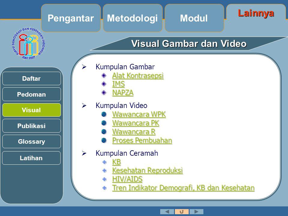 Visual Gambar dan Video  Kumpulan Gambar Alat Kontrasepsi Alat Kontrasepsi IMS NAPZA  Kumpulan Video Wawancara WPK Wawancara WPK Wawancara PK Wawancara PK Wawancara R Wawancara R Proses Pembuahan Proses Pembuahan  Kumpulan Ceramah KB Kesehatan Reproduksi Kesehatan Reproduksi HIV/AIDS Tren Indikator Demografi, KB dan Kesehatan Tren Indikator Demografi, KB dan Kesehatan Pedoman Visual Daftar Publikasi Glossary Latihan Lainnya Modul MetodologiPengantar