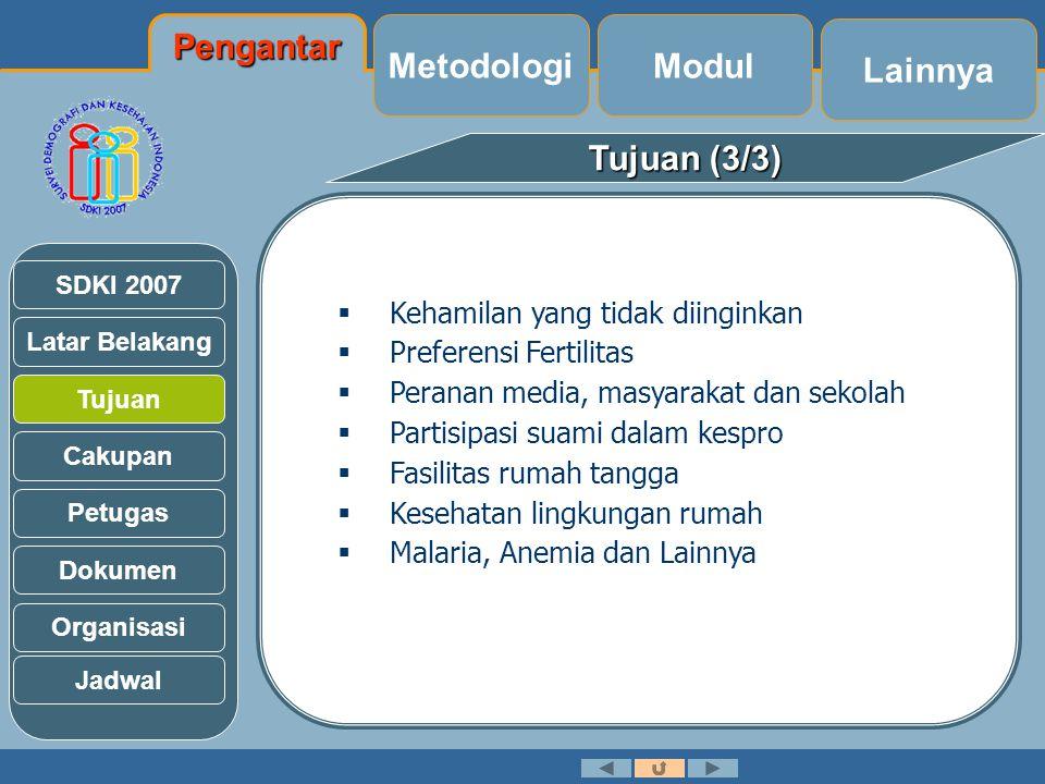 Latar Belakang Tujuan Cakupan Petugas Dokumen Organisasi SDKI 2007 Jadwal (3/3) Jadwal NoJenis KegiatanJadwal Pelaksanaan 23.Seminar Laporan Akhir SDKI07November (I) 2008 24.Penulisan Laporan RemajaJuni – Agustus 2008 25.Penulisan Laporan Ringkas RemajaJuli – September (II) 2008 26.Pencetakan Laporan RemajaOktober 2008 27.Seminar Laporan RemajaNovember (I) 2008 Lainnya Modul Metodologi Pengantar