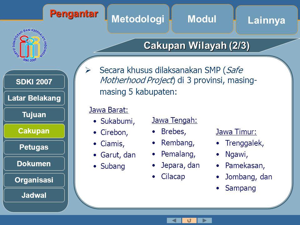 Publikasi SDKI 2002-2003 : 1.Ringkasan 2.Laporan Final 3.Wallchart Publikasi Pedoman Visual Daftar Publikasi Glossary Latihan Lainnya Modul MetodologiPengantar