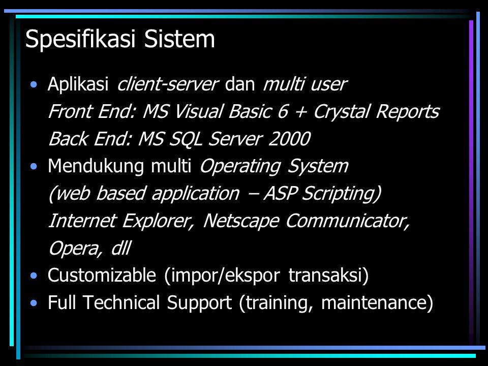 Spesifikasi Sistem •Aplikasi client-server dan multi user Front End: MS Visual Basic 6 + Crystal Reports Back End: MS SQL Server 2000 •Mendukung multi