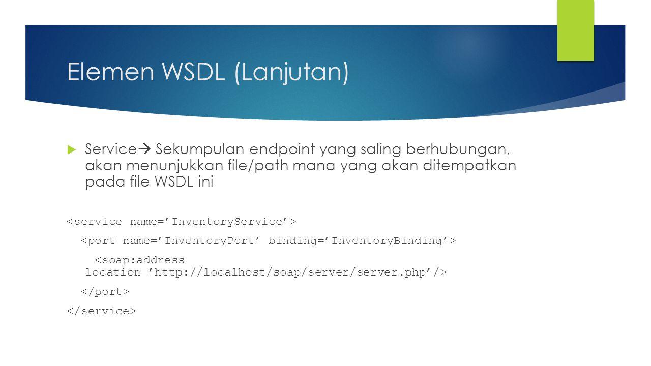 Elemen WSDL (Lanjutan)  Service  Sekumpulan endpoint yang saling berhubungan, akan menunjukkan file/path mana yang akan ditempatkan pada file WSDL i