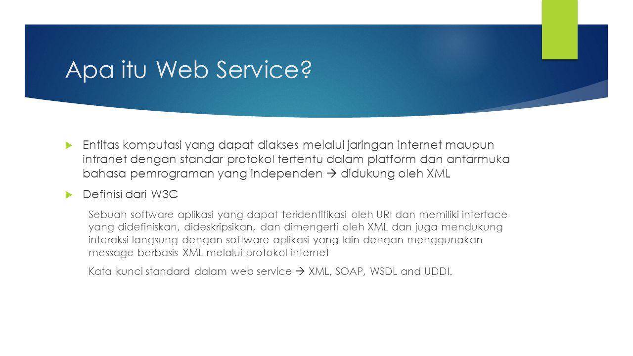 Apa itu Web Service?  Entitas komputasi yang dapat diakses melalui jaringan internet maupun intranet dengan standar protokol tertentu dalam platform