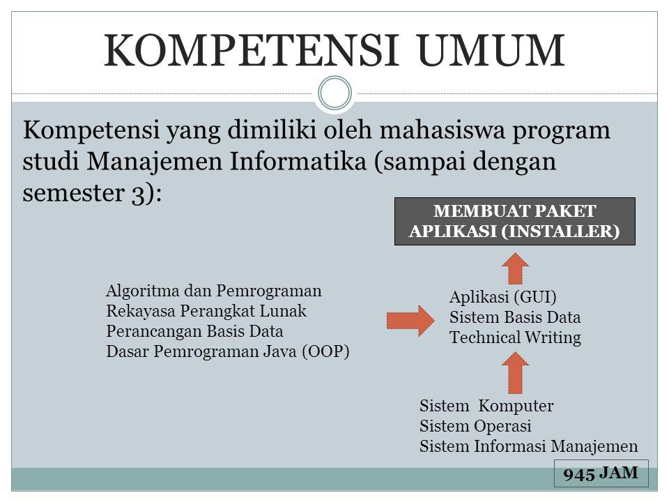 KOMPETENSI UMUM Kompetensi yang dimiliki oleh mahasiswa program studi Manajemen Informatika (sampai dengan semester 3): MEMBUAT PAKET APLIKASI (INSTAL