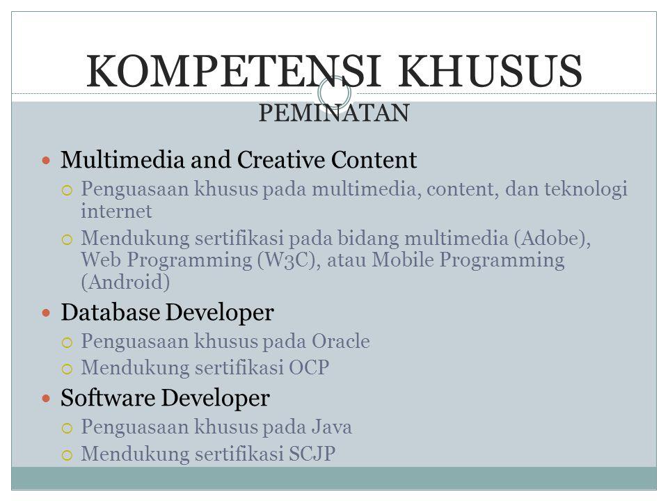 KOMPETENSI KHUSUS PEMINATAN  Multimedia and Creative Content  Penguasaan khusus pada multimedia, content, dan teknologi internet  Mendukung sertifi
