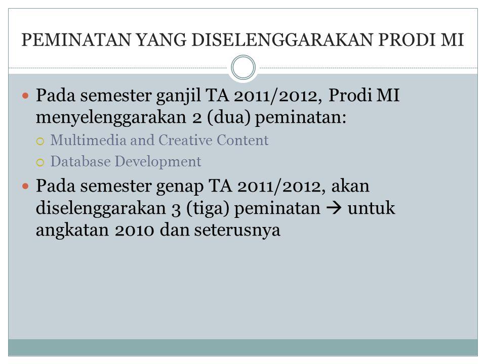 PEMINATAN YANG DISELENGGARAKAN PRODI MI  Pada semester ganjil TA 2011/2012, Prodi MI menyelenggarakan 2 (dua) peminatan:  Multimedia and Creative Co