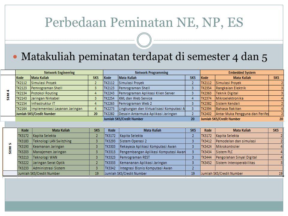 Perbedaan Peminatan NE, NP, ES  Matakuliah peminatan terdapat di semester 4 dan 5