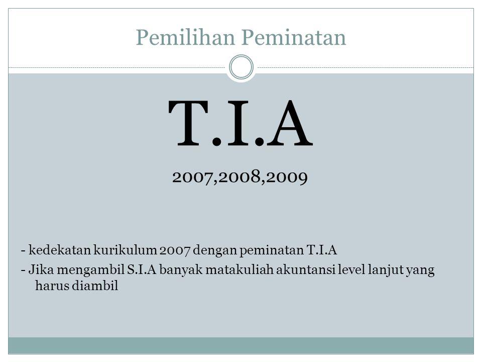 Pemilihan Peminatan T.I.A 2007,2008,2009 - kedekatan kurikulum 2007 dengan peminatan T.I.A - Jika mengambil S.I.A banyak matakuliah akuntansi level la
