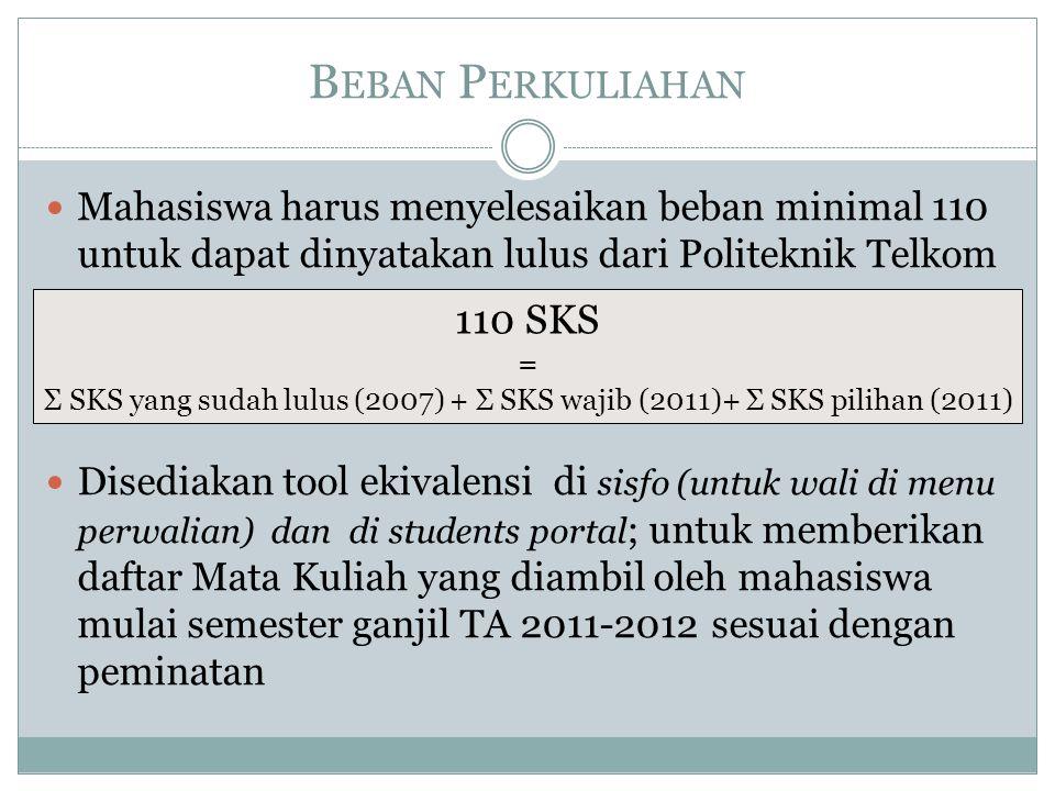 B EBAN P ERKULIAHAN  Mahasiswa harus menyelesaikan beban minimal 110 untuk dapat dinyatakan lulus dari Politeknik Telkom  Disediakan tool ekivalensi