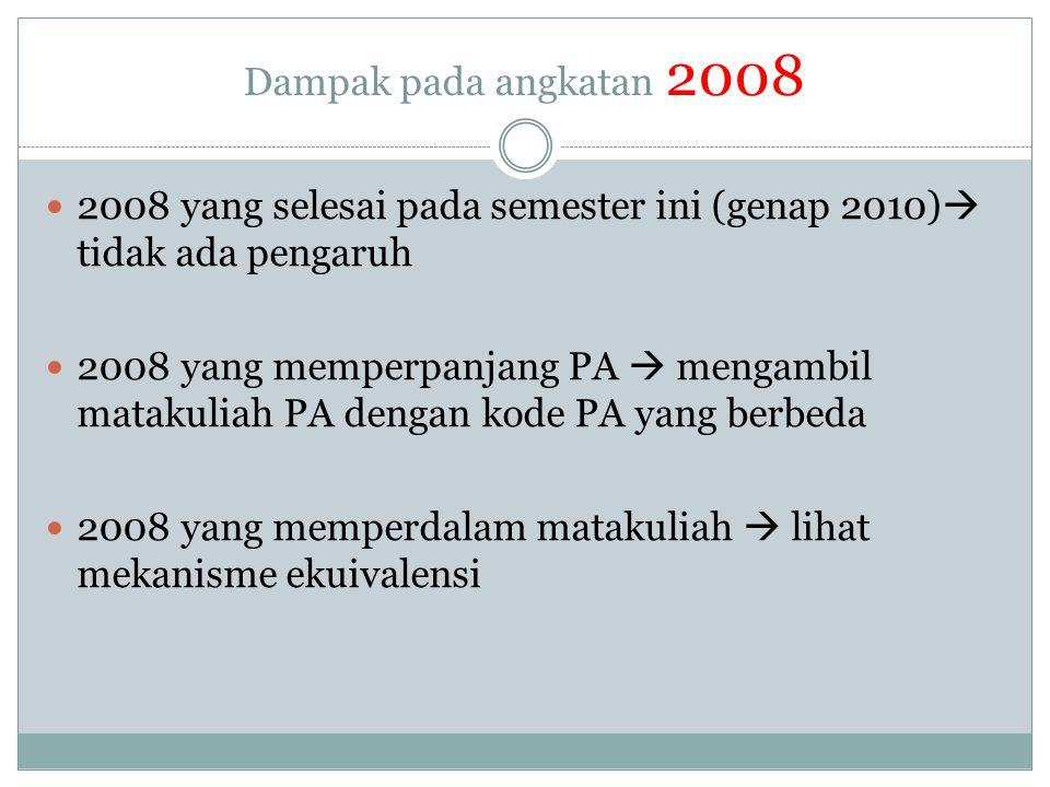 Dampak pada angkatan 2009 - 2010  2009 dan 2010 lihat mekanisme ekuivalensi  2010 (ingat sampai dengan semester 3, matakuliah sama untuk peminatan di prodi) dan pemilihan peminatan pada semester genap 2011