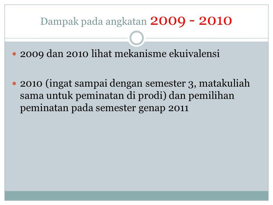 Dampak pada angkatan 2009 - 2010  2009 dan 2010 lihat mekanisme ekuivalensi  2010 (ingat sampai dengan semester 3, matakuliah sama untuk peminatan d