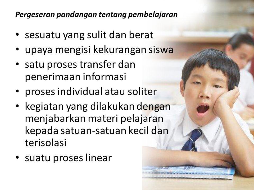 Pergeseran pandangan tentang pembelajaran • sesuatu yang sulit dan berat • upaya mengisi kekurangan siswa • satu proses transfer dan penerimaan inform