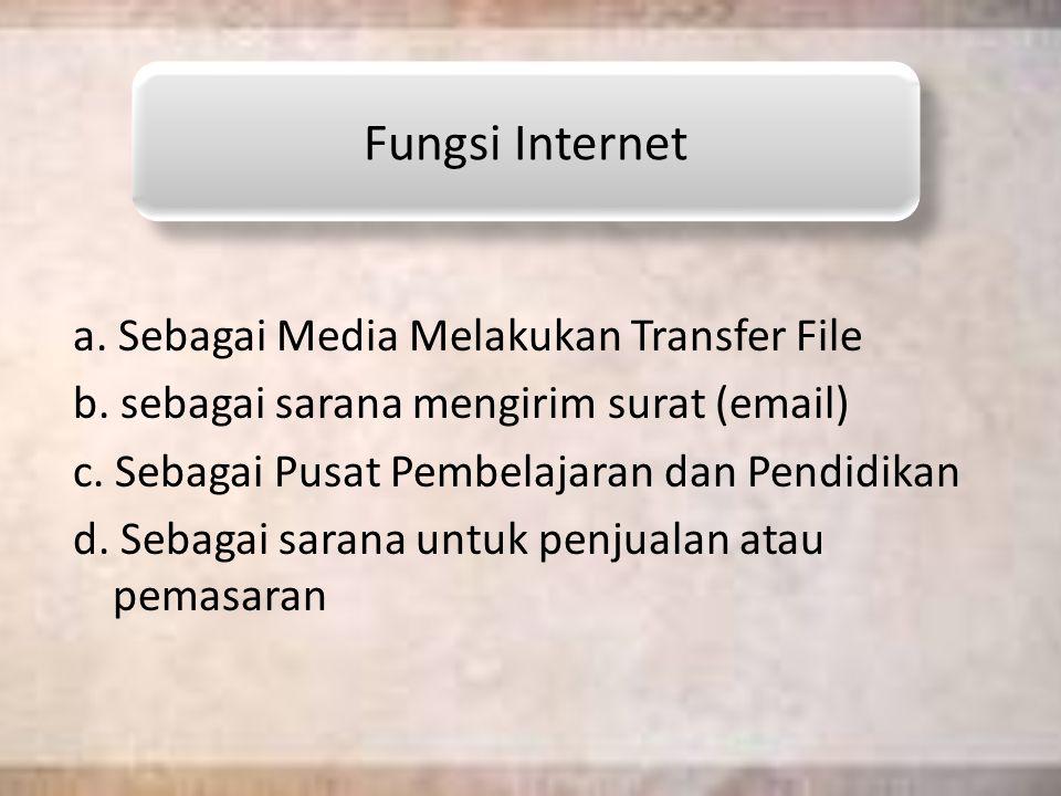 a.Sebagai Media Melakukan Transfer File b. sebagai sarana mengirim surat (email) c.