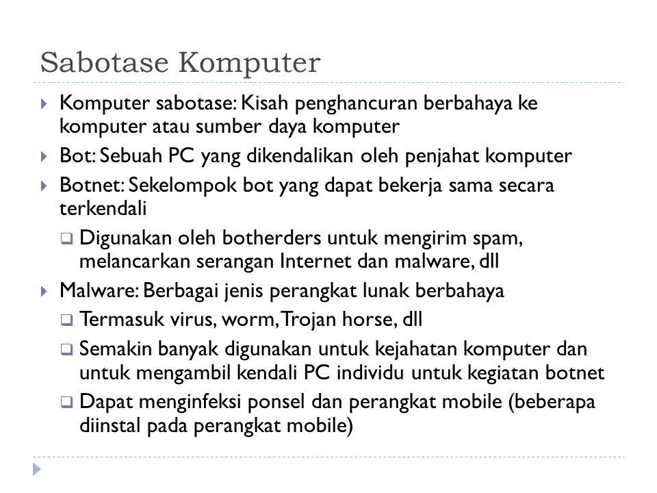 Sabotase Komputer  Komputer sabotase: Kisah penghancuran berbahaya ke komputer atau sumber daya komputer  Bot: Sebuah PC yang dikendalikan oleh penjahat komputer  Botnet: Sekelompok bot yang dapat bekerja sama secara terkendali  Digunakan oleh botherders untuk mengirim spam, melancarkan serangan Internet dan malware, dll  Malware: Berbagai jenis perangkat lunak berbahaya  Termasuk virus, worm, Trojan horse, dll  Semakin banyak digunakan untuk kejahatan komputer dan untuk mengambil kendali PC individu untuk kegiatan botnet  Dapat menginfeksi ponsel dan perangkat mobile (beberapa diinstal pada perangkat mobile)