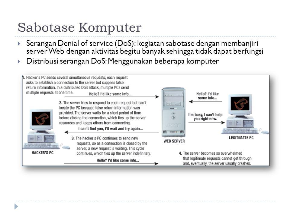  Serangan Denial of service (DoS): kegiatan sabotase dengan membanjiri server Web dengan aktivitas begitu banyak sehingga tidak dapat berfungsi  Distribusi serangan DoS: Menggunakan beberapa komputer