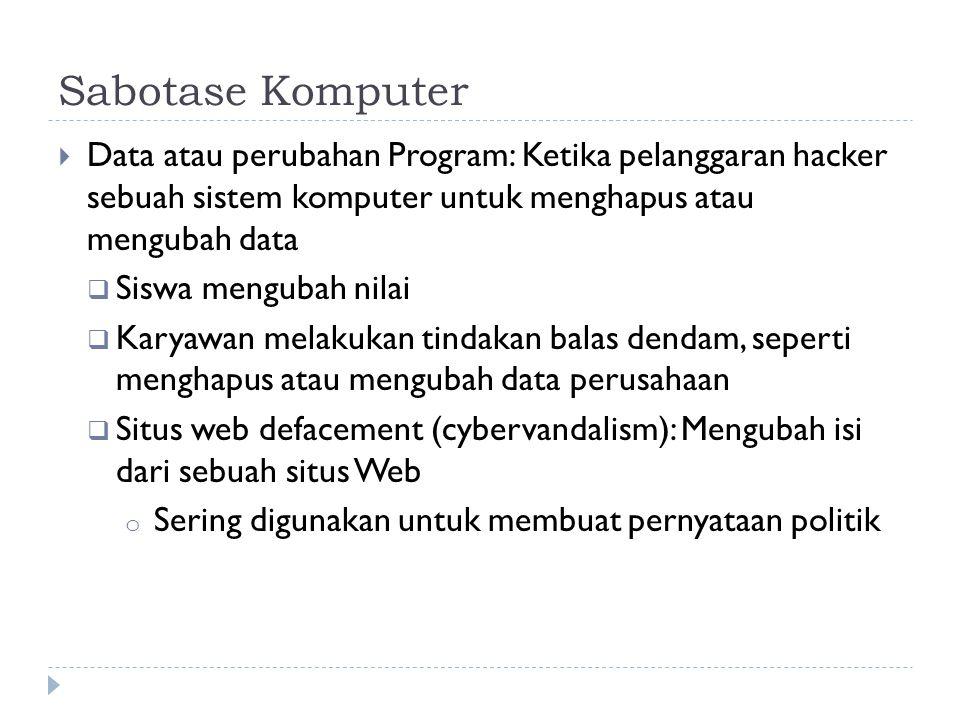 Sabotase Komputer  Data atau perubahan Program: Ketika pelanggaran hacker sebuah sistem komputer untuk menghapus atau mengubah data  Siswa mengubah nilai  Karyawan melakukan tindakan balas dendam, seperti menghapus atau mengubah data perusahaan  Situs web defacement (cybervandalism): Mengubah isi dari sebuah situs Web o Sering digunakan untuk membuat pernyataan politik